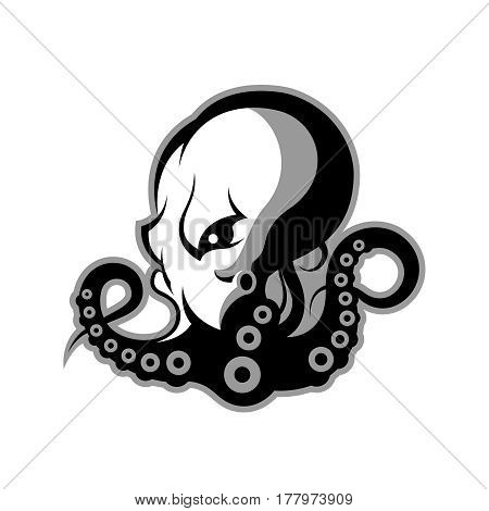 Furious octopus mono sport vector logo concept isolated on white background. Modern professional team badge design. Premium quality wild cephalopod mollusk t-shirt tee print illustration.