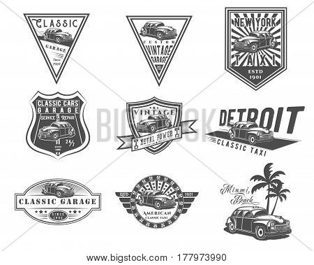 Vector set of classic American car and taxi cab for logo templates icons emblems promotion isolated on white background