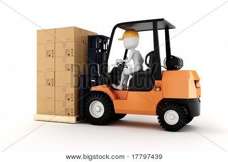 3d man worker driving a forklift