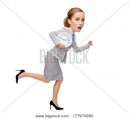 business, time and education concept - stressed young businesswoman with clock running, funny character with big head