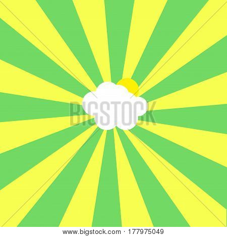 Abstract Illustration Of Cloud And Sun In Centre Of Yellow And Green Sunbeams On Sky