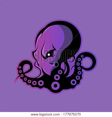 Furious octopus sport vector logo concept isolated on purple background. Modern professional team badge design. Premium quality wild cephalopod mollusk t-shirt tee print illustration.