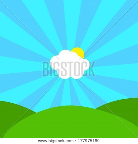 Abstract Illustration Of Cloud And Sun In Centre Of Blue Sunbeams On Sky Over Green Hills