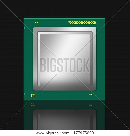 3D Illustration Of A Computer Cpu. Isolated On Black Background With Mirror Reflection