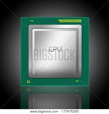 3D Illustration Of A Computer Cpu. Isolated On Black Background With Radial Gradient With Mirror Ref