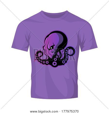 Furious octopus sport vector logo concept isolated on purple t-shirt mockup. Modern professional team badge design. Premium quality wild cephalopod mollusk t-shirt tee print illustration.
