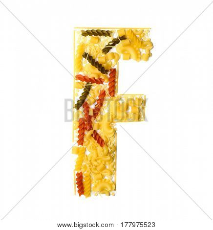 Pile of spaghetti forming a letter F, all different shapes, colors and varieties