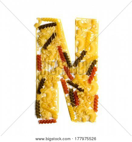 Pile of spaghetti forming a letter N, all different shapes, colors and varieties