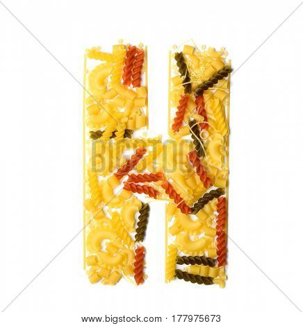 Pile of spaghetti forming a letter H, all different shapes, colors and varieties