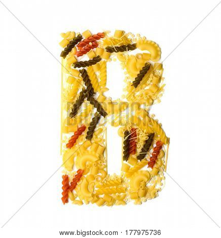 Pile of spaghetti forming a letter B, all different shapes, colors and varieties