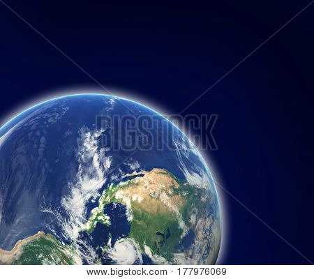 Earth In Space. Photo Of Earth Furnished By Nasa
