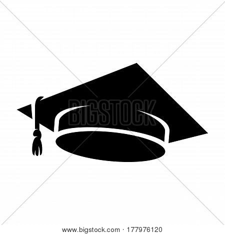 Graduation cap icon. Black students hat vector illustration