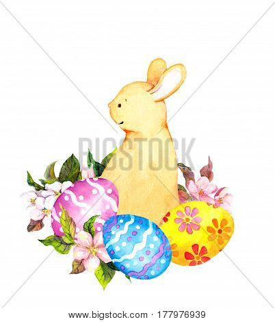 Cute easter bunny with colored eggs and flowers. Watercolor