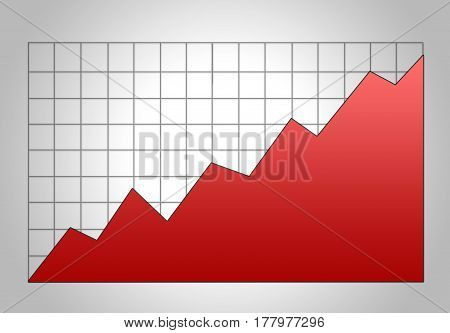Bright Red Stock Graph Growth Chart On Grid. Market Analysis