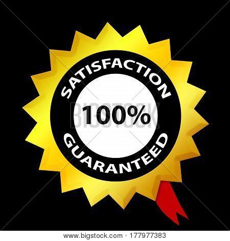 Satisfaction 100% Guaranteed Label. On Black Background. For Internet Businessmen, Shops, E-commerce