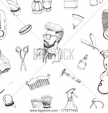 Hand drawn barbershop seamless pattern with accessories comb, razor, shaving brush, scissors, hairdryer, barber s pole and bottle spray, Outline vector pattern on white background.
