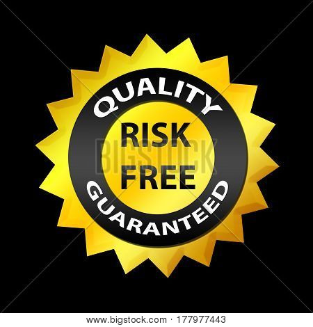 Quality, Risk Free 100% Guaranteed Label. On Black Background. For Internet Businessmen, Shops, E-co