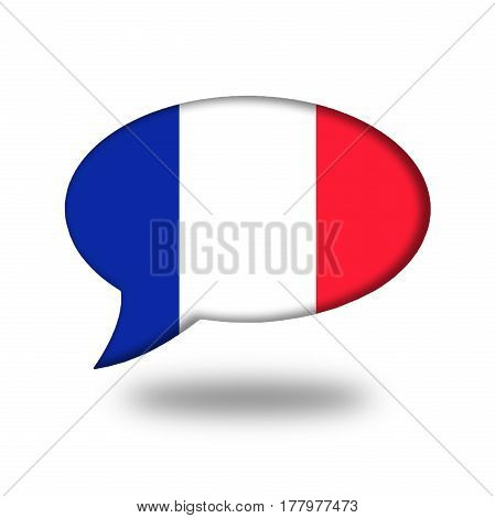 French Flag In A Speech Bubble Isolated On White