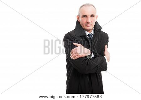 Middle Age Man Wearing Raincoat Looking Cold