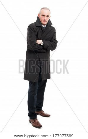 Full Body Of Middle Age Man Wearing Raincoat