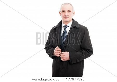Portrait Of Middle Age Business Man Wearing Raincoat