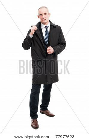 Full Body Of Middle Age Business Man Wearing Raincoat