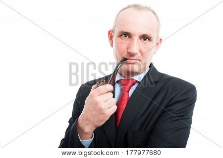 Middle Age Business Man Smoking Pipe