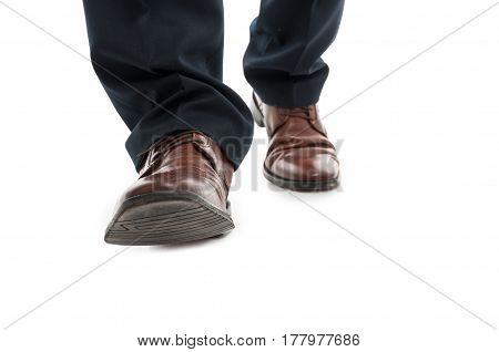 Close-up Of Business Man Elegant Shoes Walking
