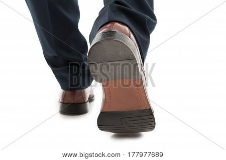 Close-up Of Back View Business Man Elegant Shoes Walking
