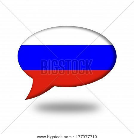 Russian Flag In A Speech Bubble Isolated On White