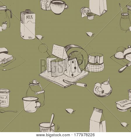 Dairy products hand drawn seamless pattern, Milky farming assortment. Vector illustration.