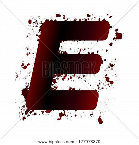 Dirty Bloody Letter E With Spots. Grunge Alphabet. Scary Letters For Halloween
