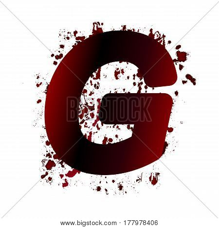 Dirty Bloody Letter G With Spots. Grunge Alphabet. Scary Letters For Halloween