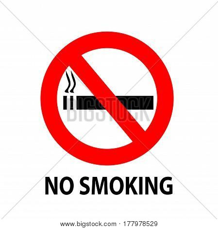 No Smoking Sign With A Text Isolated On White Background Illustration