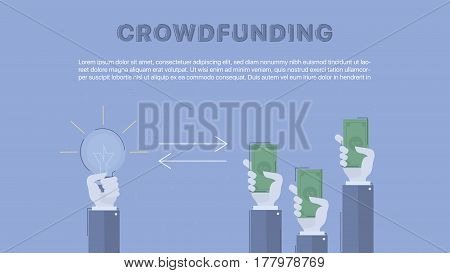 Crowdfunding. Concept business vector for investing into ideas, creative innovative work, growing business. Flat illustration with thin broken line.