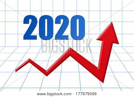Red Growth Arrow On Blue 3D Grid With Text: Year 2020