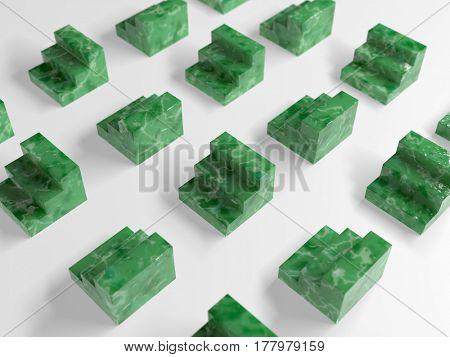 abstract green blocks on white, 3d illustration