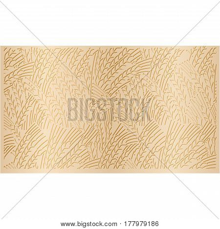 Abstract gold pattern background ripe ears of wheat decorative element for your design.