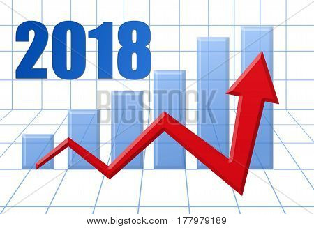Graph Schedule Red Growth Arrow On Blue 3D Grid With Text: Year 2018