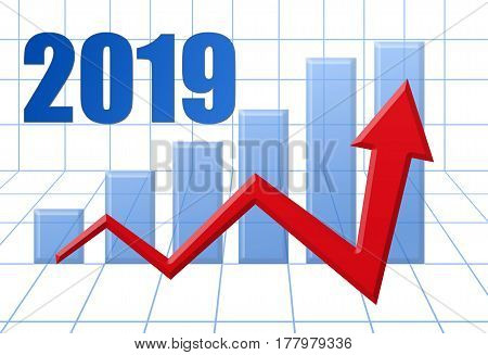 Graph Schedule Red Growth Arrow On Blue 3D Grid With Text: Year 2019