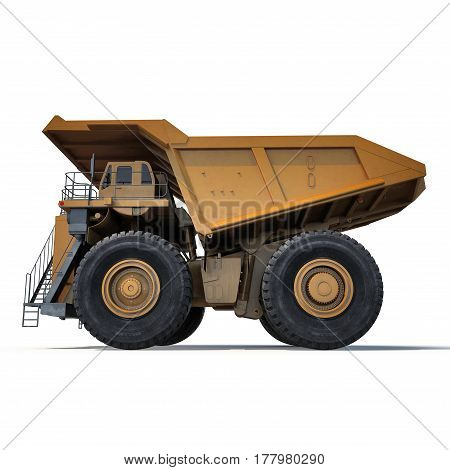 Heavy mining dump truck on white background. Side view. 3D illustration