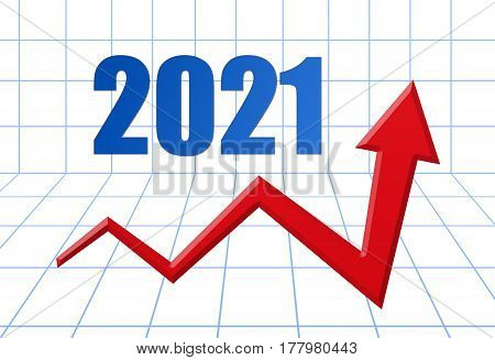 Red Growth Arrow On Blue 3D Grid With Text: Year 2021