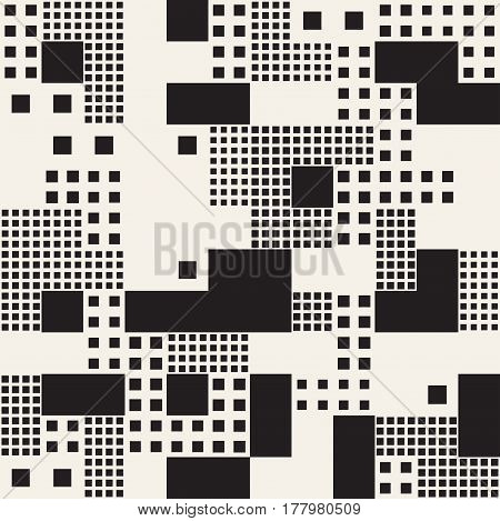Modern Stylish Halftone Texture. Endless Abstract Background With Random Size Squares. Vector Seamless Pattern.