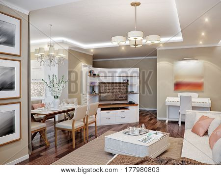 Modern Living Room, Kitchen And Dining Room