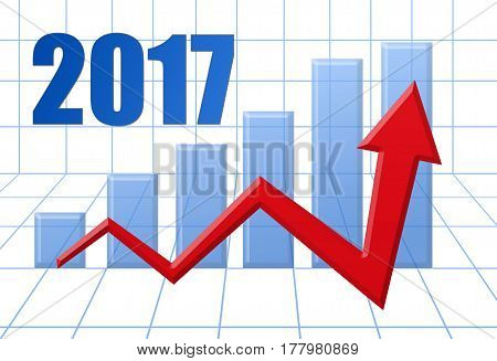 Graph Schedule Red Growth Arrow On Blue 3D Grid With Text: Year 2017