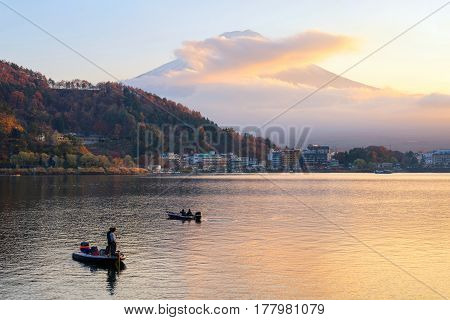 Natural landscape view of Mount Fuji at Kawaguchiko lake during sunset in autumn season at Japan. Mount Fuji is a Special Place of Scenic Beauty and one of Japan's Historic Sites.