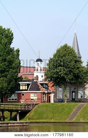Netherlands Friesland june 2016:Tower of the City-hall of Dokkum
