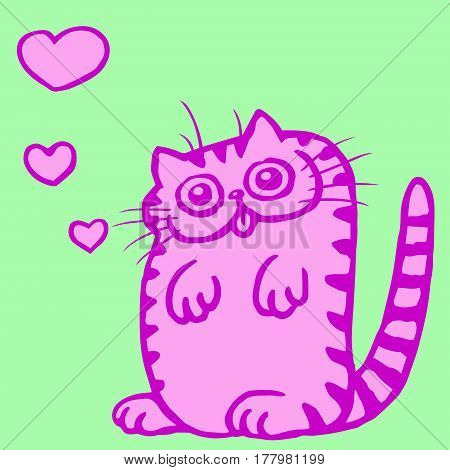 Pink Flat Color Cat in Love on Valentine's Day. Funny Cartoon Cool Character. Contour Freehand Drawing Cute Fur Character. Green Background. Pet for Web Icons and Shirt. Isolated Vector Illustration.