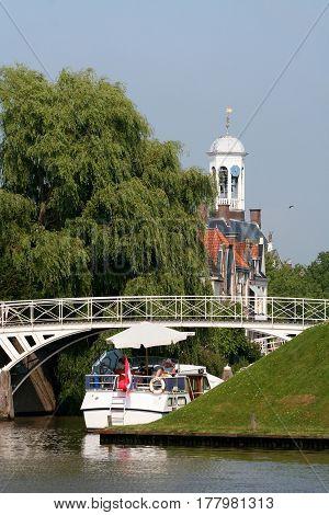 Netherlands Friesland june 2016: City-hall of Dokkum