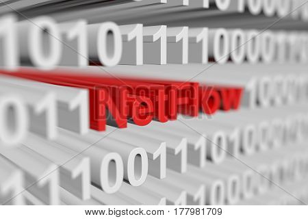 NetFlow is represented as a binary code with blurred background 3d illustration